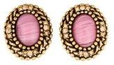 Oscar de la Renta Cabochon & Crystal Oval Clip-On Earrings