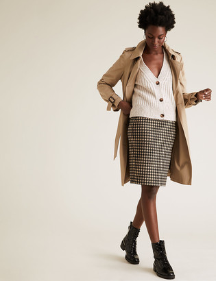 Marks and Spencer Jersey Houndstooth Knee Length Pencil Skirt