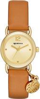 Arizona Womens Gold Tone Dreamcatcher Charm Brown Strap Watch
