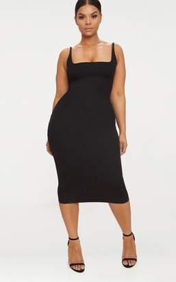 PrettyLittleThing Plus Black Ribbed Square Neck Midi Dress
