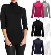Felina 2 Pack Long Sleeve Turtleneck Women Layering Shirts Soft Cotton Blend Ladies Tagless Top