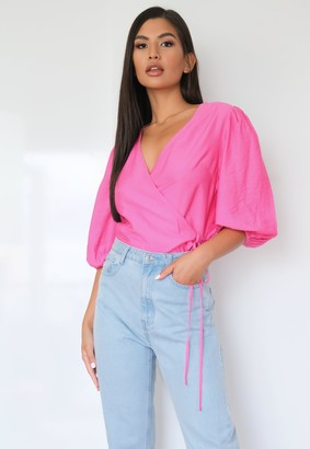 Missguided Petite Pink Wrap Puff Sleeve Top