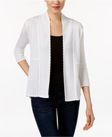 NY Collection Petite Pointelle Open-Front Cardigan