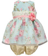 Jayne Copeland Blue Floral Crochet-Accent Dress & Bloomers - Infant