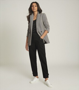 Reiss Taite - Herringbone Tailored Blazer in Black/White