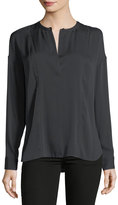Vince Silk-Blend Long-Sleeve Blouse