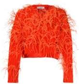 Valentino feathered crop jumper