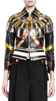 Givenchy 3/4-Sleeve Leather Zip-Front Jacket, Multi Colors