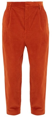 Raey Exaggerated Tapered-leg Corduroy Trousers - Dark Orange