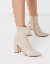 New Look patent PU heeled boots in oatmeal
