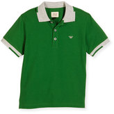Armani Junior Short-Sleeve Basic Colorblock Pique Polo Shirt, Green, Size 4-12