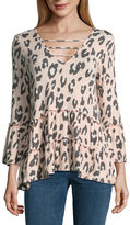 Miss Chievous 3/4 Sleeve V Neck Jersey Animal Blouse-Juniors