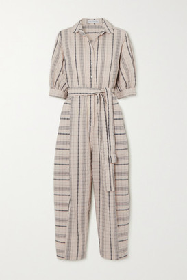Palmer Harding Dana Belted Striped Linen-blend Seersucker Jumpsuit - Beige