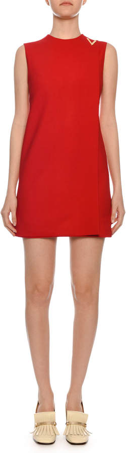 Valentino Sleeveless Jewel-Neck Double-Crepe Shift Dress