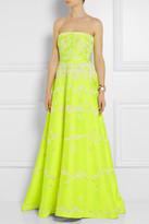 Valentino Embellished neon duchess satin gown