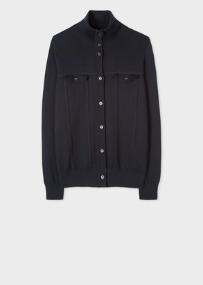 Paul Smith Women's Navy Cotton Cardigan With 'Artist Stripe' Trims