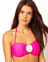 South Beach Bandeau Bikini Top With Contrast Flower