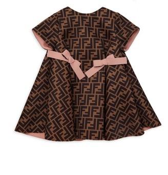 Fendi Baby Girl's Neoprene Logo Bow Dress