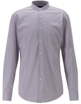 Finely striped slim-fit shirt with stand collar