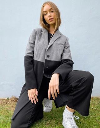 French Connection color block coat in black and gray