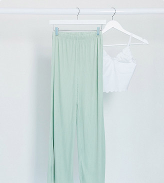 Asos Tall ASOS DESIGN Tall plisse culotte pants in sage