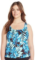 Maxine Of Hollywood Women's Plus-Size Tonal Leaf Scoop Neck Tankini
