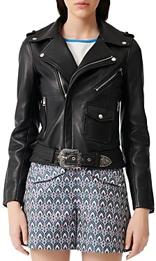 Maje Bocel Leather Moto Jacket
