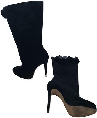 Oscar de la Renta Black Suede Boots