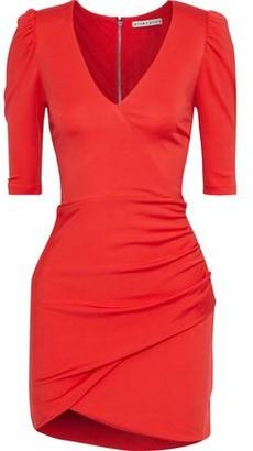 Alice + Olivia Judy Wrap-effect Ruched Stretch-jersey Mini Dress