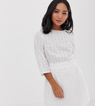 Asos DESIGN Petite casual elasticated mini dress in broderie