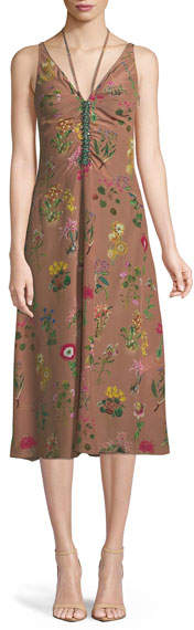 No.21 No. 21 Floral-Print V-Neck Silk Midi Dress with Jeweled Embellishment