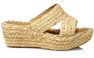 Carrie Forbes Bella Raffia Platform Wedge Mules