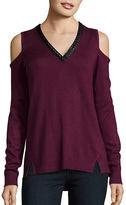 Democracy Cold Shoulder V-Neck Sweater