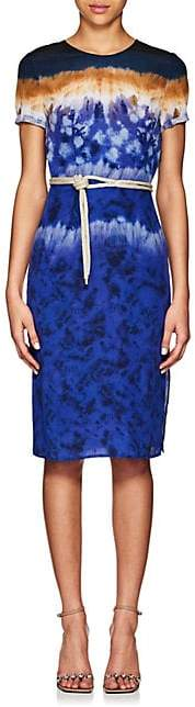 Altuzarra Women's Tie-Dyed Silk Midi-Dress - Ceramic Blue