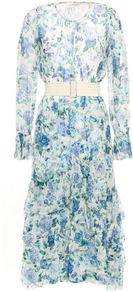Zimmermann Belted Tiered Floral-print Silk-crepon Midi Dress