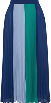 Iris & Ink Clementine Pleated Color-block Crepe De Chine Midi Skirt