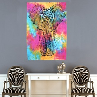 Oussum Indian Multi-Color Cotton Elephant Boho Mandala Tapestries Wall Hanging Decor Poster Throw Bedspread - 30x45 inches