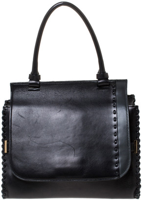 The Row Black Leather Top Handle Bag