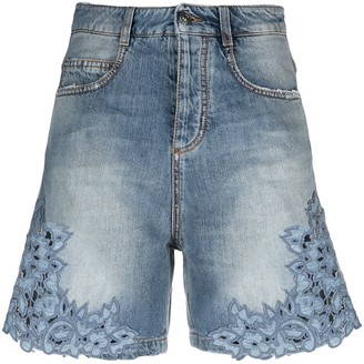 Ermanno Scervino Embroidered-Trim Denim Shorts