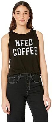 The Original Retro Brand Need Coffee Slub Tank Top (Black) Women's T Shirt