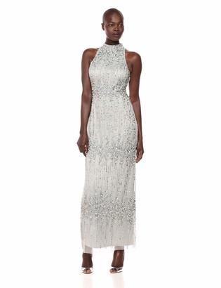 Adrianna Papell Women's Sleeveless Fully Beaded Column Dress with Halter Neckline