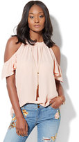 New York & Co. Short-Sleeve Cold-Shoulder Blouse