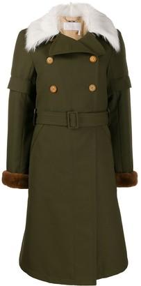 Chloé Faux Fur Collar Trench Coat
