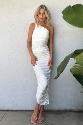 Nasty Gal Womens Don't Ruche a Good Thing One Shoulder Maxi Dress - Ivory