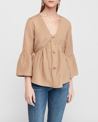 Express Button Front Flare Sleeve Top