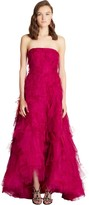 Oscar de la Renta Exclusive Embroidered Silk Organza Pleated High-Low Gown