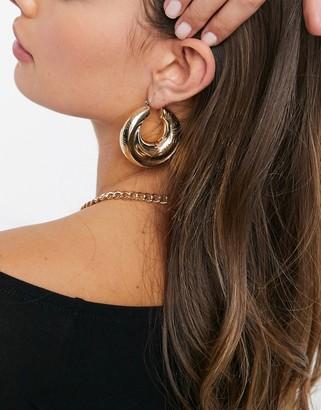 ASOS DESIGN hoop earrings in chunky soft twist design in gold tone