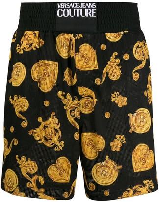 Versace baroque-print mesh shorts