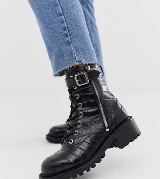 ASOS DESIGN Wide Fit Anya hardware lace up ankle boots in black croc