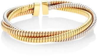 Bagutta Alberto Milani Via 18K Tri-Gold Three Row Tubogas Flex Cuff Bracelet
